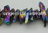 CNG5469 15.5 inches 6*10mm - 8*20mm nuggets plated quartz beads