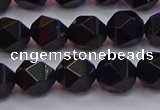 CNG5503 15.5 inches 10mm faceted nuggets black agate beads