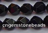 CNG5504 15.5 inches 12mm faceted nuggets black agate beads