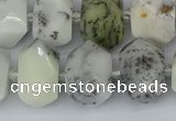 CNG5520 12*16mm - 15*20mm faceted nuggets white opal gemstone beads