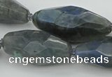 CNG5643 15.5 inches 15*35mm - 18*40mm faceted rice labradorite beads