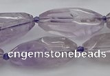 CNG5651 15.5 inches 15*35mm - 18*40mm faceted rice amethyst beads