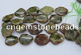 CNG5670 15.5 inches 25*35mm - 35*40mm faceted freeform green garnet beads