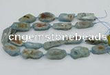 CNG5672 15.5 inches 15*35mm - 20*40mm freeform aquamarine beads