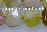 CNG5812 15.5 inches 10*14mm - 12*16mm faceted freeform yellow opal beads