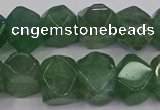 CNG5844 10*14mm - 12*16mm faceted nuggets green strawberry quartz beads