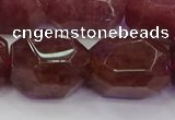 CNG5847 16*22mm - 18*25mm faceted nuggets strawberry quartz beads