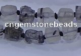 CNG5905 4*6mm - 6*10mm nuggets rough black rutilated quartz beads