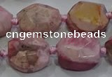 CNG5933 10*12mm - 10*14mm faceted freeform rhodochrosite beads