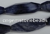 CNG594 11*35mm - 14*38mm faceted rice blue aventurine nugget beads