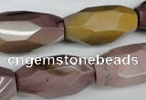 CNG598 12*25mm - 15*36mm faceted rice mookaite nugget beads