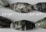 CNG603 15.5 inches 13*27mm faceted rice black water jasper nugget beads