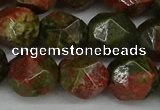 CNG6039 15.5 inches 12mm faceted nuggets unakite gemstone beads