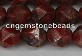 CNG6052 15.5 inches 12mm faceted nuggets brecciated jasper beads