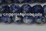 CNG6103 15.5 inches 8mm faceted nuggets blue spot stone beads