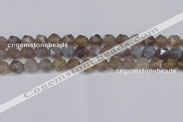 CNG6151 15.5 inches 10mm faceted nuggets grey agate beads