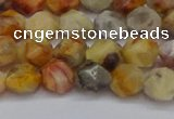 CNG6222 15.5 inches 6mm faceted nuggets yellow crazy lace agate beads
