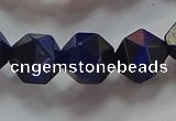 CNG6544 15.5 inches 10mm faceted nuggets blue tiger eye beads