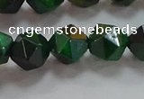 CNG6548 15.5 inches 10mm faceted nuggets green tiger eye beads