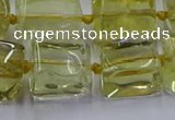 CNG6807 15.5 inches 8*12mm - 10*16mm nuggets lemon quartz beads