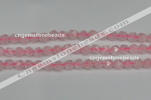 CNG7228 15.5 inches 12mm faceted nuggets rose quartz beads