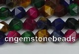 CNG7330 15.5 inches 6mm faceted nuggets mixed tiger eye beads