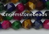 CNG7331 15.5 inches 8mm faceted nuggets mixed tiger eye beads