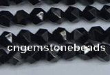 CNG7350 15.5 inches 6mm faceted nuggets Black agate beads