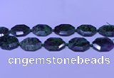 CNG7514 15.5 inches 25*35mm - 30*40mm faceted freeform ruby zoisite beads