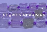 CNG7540 15.5 inches 6*8mm - 10*12mm freeform kunzite beads