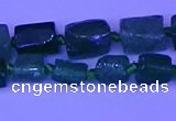 CNG7643 15.5 inches 5*7mm - 8*10mm nuggets green strawberry quartz beads