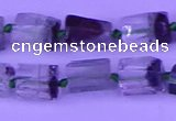 CNG7650 15.5 inches 5*7mm - 8*10mm nuggets green phantom quartz beads