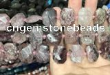 CNG7757 13*18mm - 15*25mm faceted freeform strawberry quartz beads