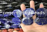 CNG7836 22*30mm - 28*35mm faceted freeform lapis lazuli beads