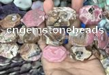 CNG7838 22*30mm - 25*35mm faceted freeform rhodochrosite beads