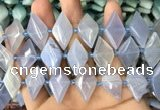 CNG7896 13*20mm - 15*25mm faceted freeform blue chalcedony beads