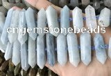 CNG7906 10*25mm - 12*45mm faceted nuggets aquamarine graduated beads