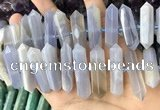 CNG7925 8*22mm - 12*40mm faceted nuggets blue chalcedony beads