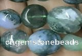 CNG8039 15.5 inches 8*10mm nuggets moss agate beads wholesale
