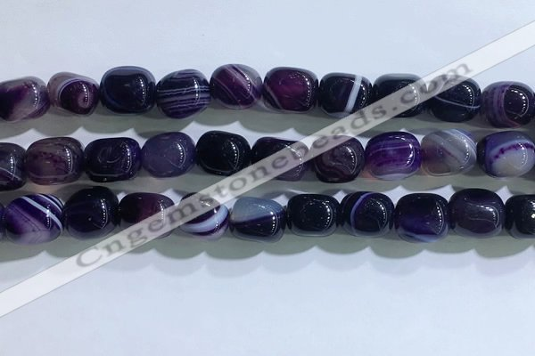 CNG8186 15.5 inches 10*14mm nuggets striped agate beads wholesale