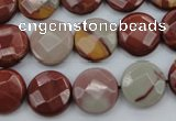 CNJ43 15.5 inches 14mm faceted coin noreena jasper beads