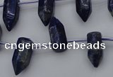 CNL1151 15.5 inches 7*17mm faceted cone lapis lazuli gemstone beads