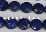 CNL472 15.5 inches 14mm faceted coin natural lapis lazuli beads
