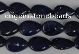 CNL501 15.5 inches 10*14mm flat teardrop natural lapis lazuli beads