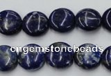 CNL732 15.5 inches 14mm flat round natural lapis lazuli gemstone beads