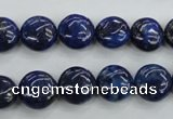 CNL924 15.5 inches 12mm flat round natural lapis lazuli gemstone beads