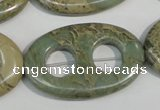 CNS270 15.5 inches 25*40mm carved oval natural serpentine jasper beads
