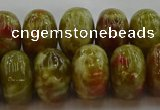 CNS615 15.5 inches 10*16mm rondelle green dragon serpentine jasper beads
