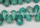 CNT230 Top-drilled 6*12mm - 8*18mm teardrop natural turquoise beads