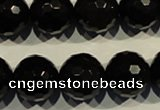COB456 15.5 inches 16mm faceted round black obsidian beads